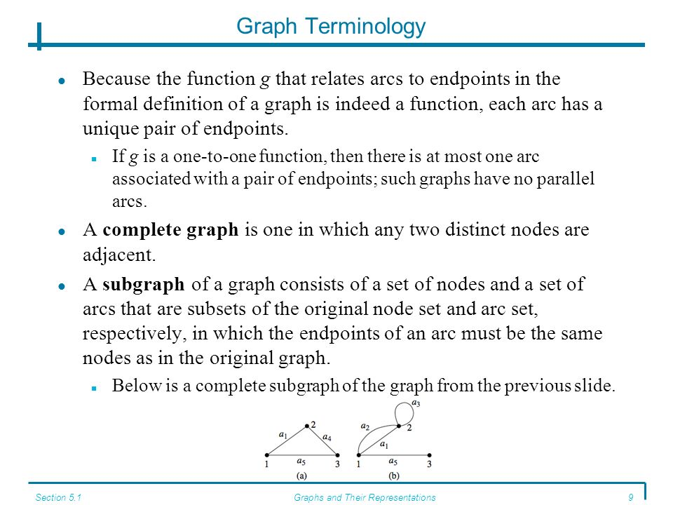 Section 5.1Graphs and Their Representations9 Graph Terminology Because the function g that relates arcs to endpoints in the formal definition of a graph is indeed a function, each arc has a unique pair of endpoints.