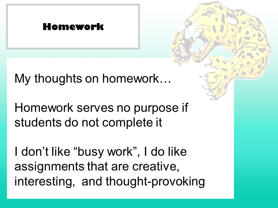 Homework My thoughts on homework… Homework serves no purpose if students do not complete it I dont like busy work, I do like assignments that are creative, interesting, and thought-provoking
