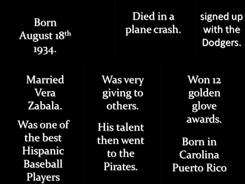 Born August 18 th 1934. Born in Carolina Puerto Rico Was one of the best Hispanic Baseball Players signed up with the Dodgers. His talent then went to