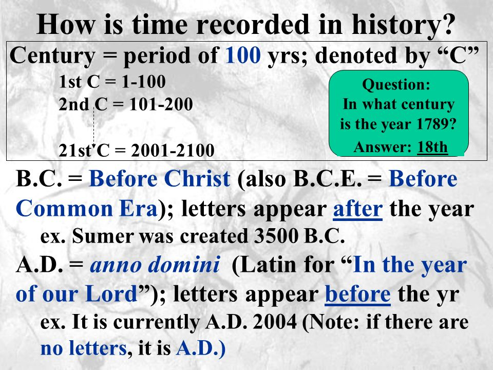 How is time recorded in history.