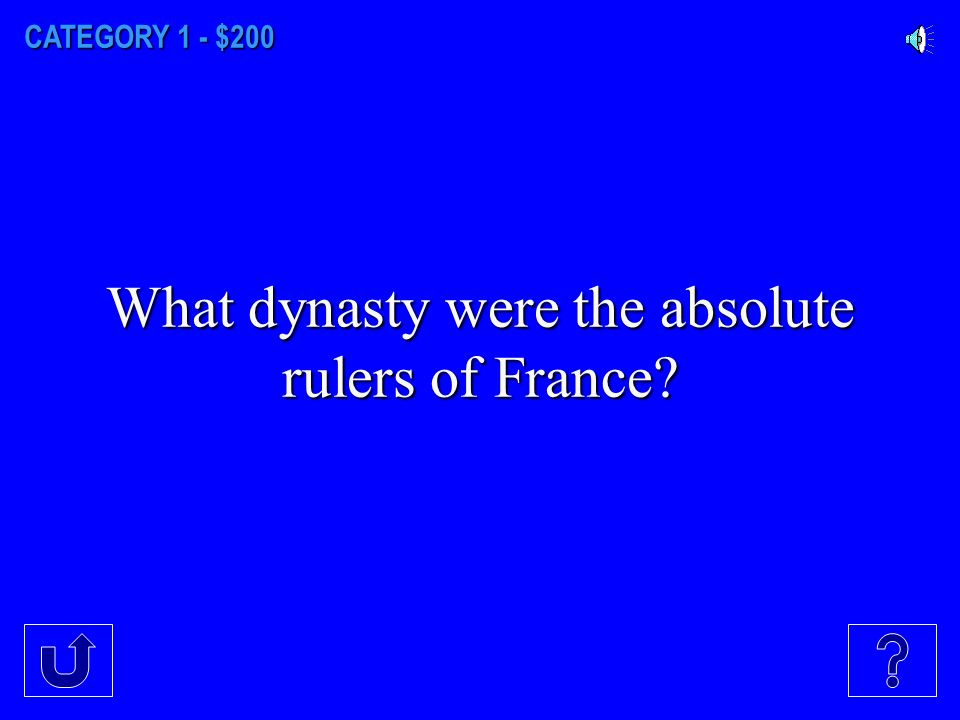 CATEGORY 1 - $100 What did dynastic rulers claim in order to justify their absolute rule