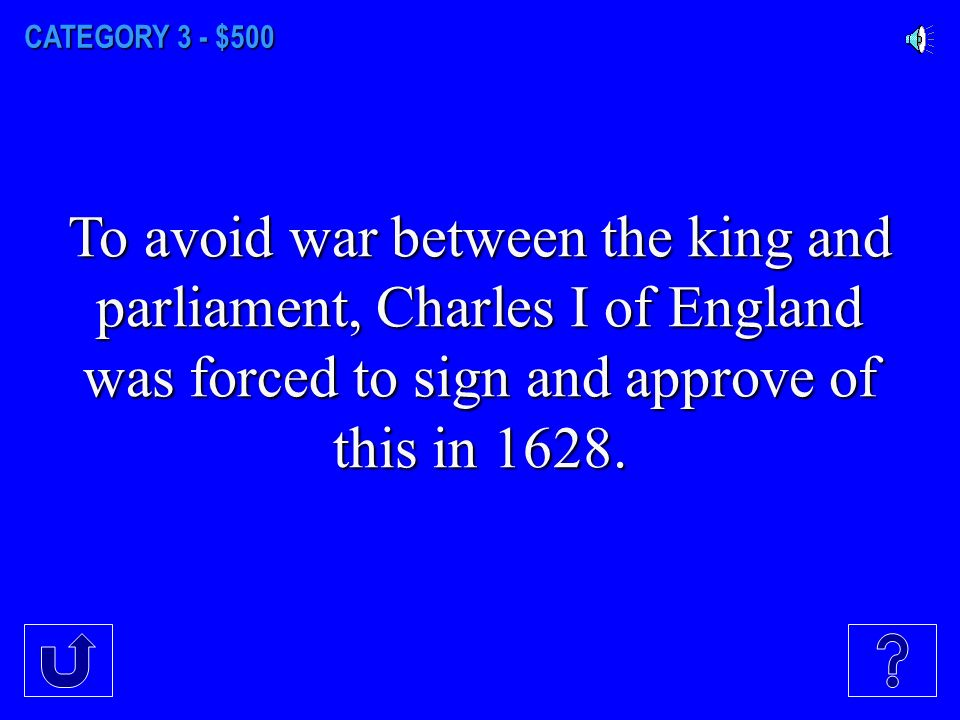 CATEGORY 3 - $400 The English Civil War was between whom?