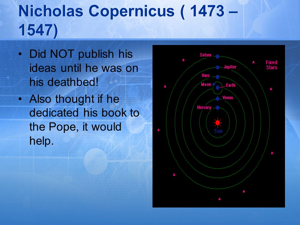 Nicholas Copernicus ( 1473 – 1547) Did NOT publish his ideas until he was on his deathbed! Also thought if he dedicated his book to the Pope, it would