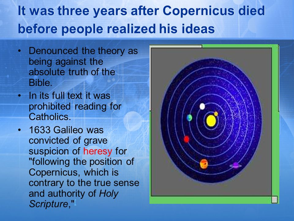 It was three years after Copernicus died before people realized his ideas Denounced the theory as being against the absolute truth of the Bible. In it