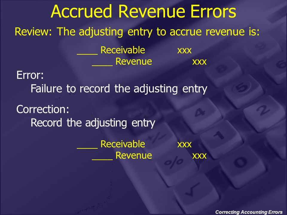 Correcting Accounting Errors Accrued Revenue Errors Review: The adjusting entry to accrue revenue is: ____ Receivablexxx ____ Revenuexxx Error: Failur