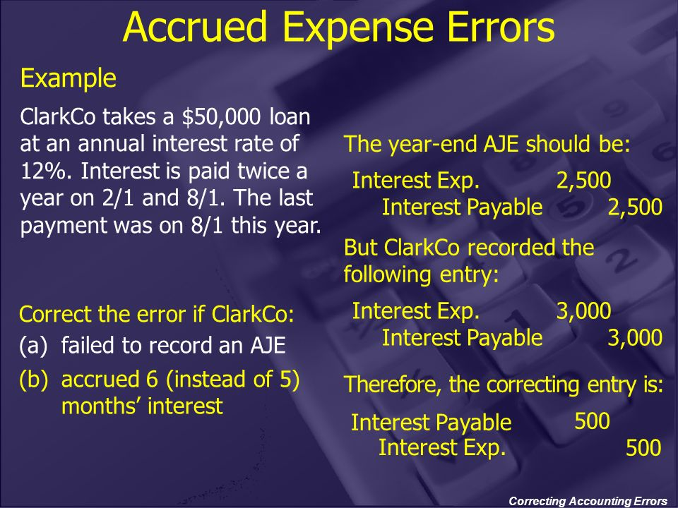 Correcting Accounting Errors Interest Payable Accrued Expense Errors The year-end AJE should be: But ClarkCo recorded the following entry: Therefore,