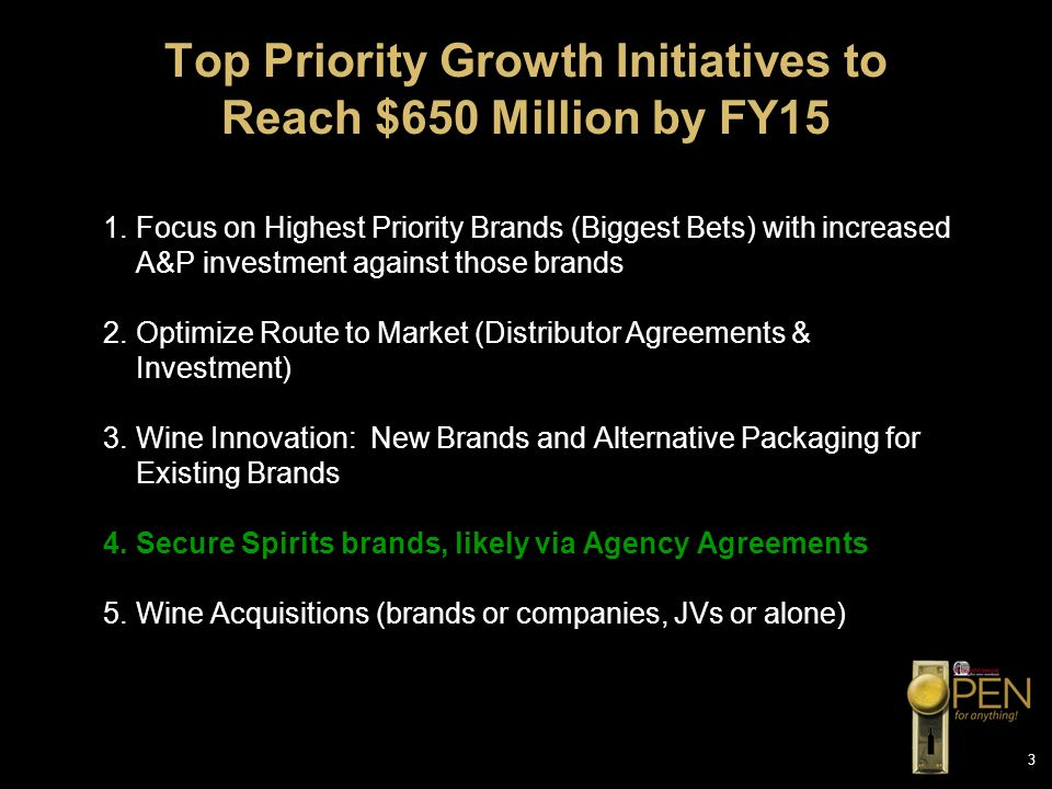 3 Top Priority Growth Initiatives to Reach $650 Million by FY15 1.Focus on Highest Priority Brands (Biggest Bets) with increased A&P investment agains