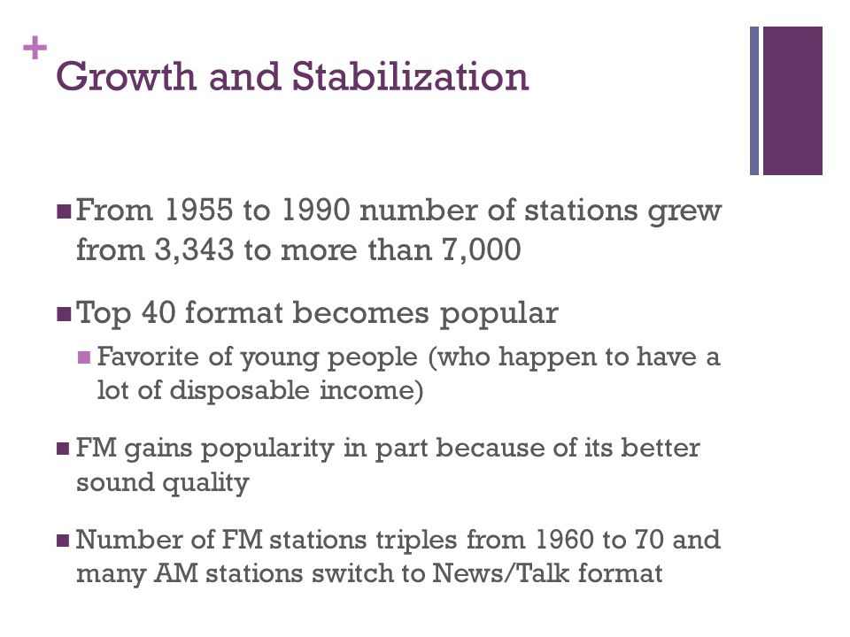 + Growth and Stabilization From 1955 to 1990 number of stations grew from 3,343 to more than 7,000 Top 40 format becomes popular Favorite of young people (who happen to have a lot of disposable income) FM gains popularity in part because of its better sound quality Number of FM stations triples from 1960 to 70 and many AM stations switch to News/Talk format