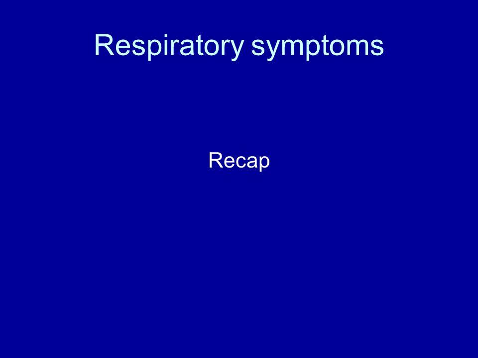 Respiratory symptoms Recap