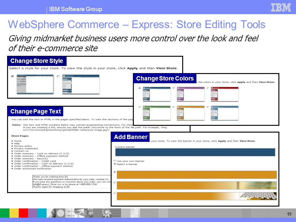 IBM Software Group 15 Change Store Style WebSphere Commerce – Express: Store Editing Tools Change Page Text Change Store Colors Add Banner Giving midm