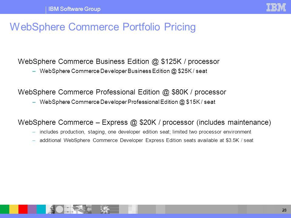 IBM Software Group 28 WebSphere Commerce Portfolio Pricing WebSphere Commerce Business Edition @ $125K / processor –WebSphere Commerce Developer Busin