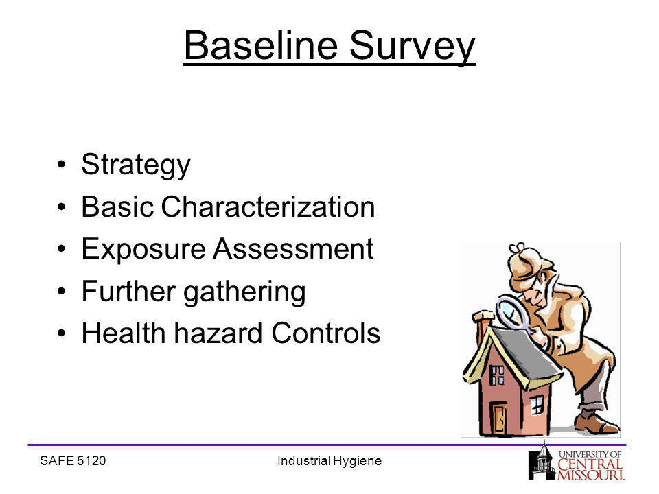 SAFE 5120Industrial Hygiene Baseline Survey Strategy Basic Characterization Exposure Assessment Further gathering Health hazard Controls