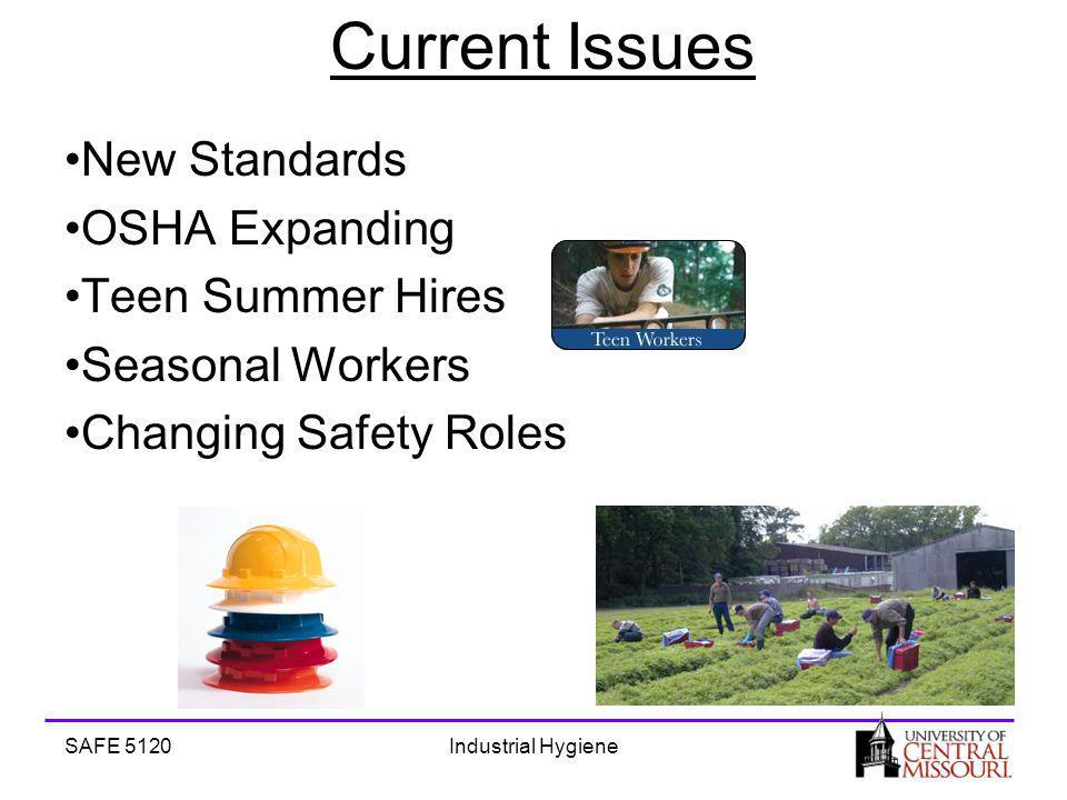 SAFE 5120Industrial Hygiene Current Issues New Standards OSHA Expanding Teen Summer Hires Seasonal Workers Changing Safety Roles
