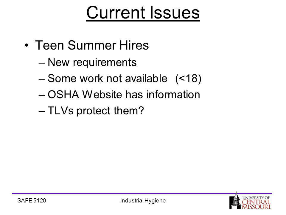 SAFE 5120Industrial Hygiene Current Issues Teen Summer Hires –New requirements –Some work not available (<18) –OSHA Website has information –TLVs protect them
