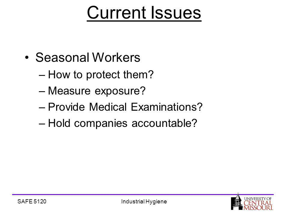 SAFE 5120Industrial Hygiene Current Issues Seasonal Workers –How to protect them.