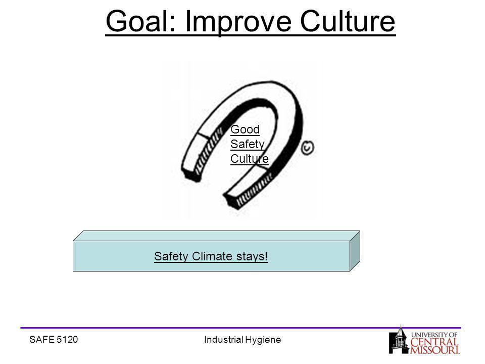 SAFE 5120Industrial Hygiene Goal: Improve Culture Good Safety Culture Safety Climate stays!