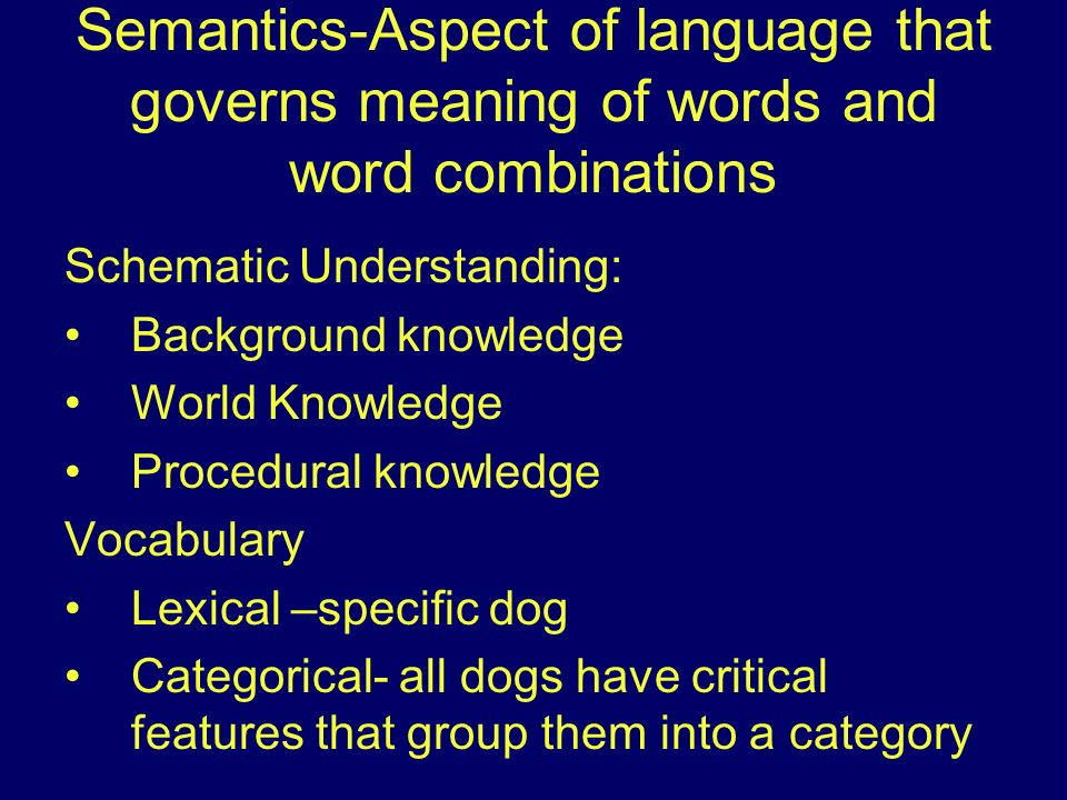 Semantics-Aspect of language that governs meaning of words and word combinations Schematic Understanding: Background knowledge World Knowledge Procedu