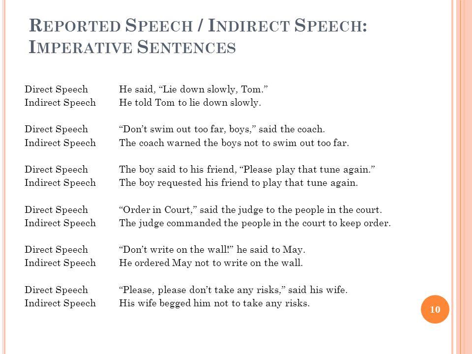 R EPORTED S PEECH / I NDIRECT S PEECH : I MPERATIVE S ENTENCES Direct Speech He said, Lie down slowly, Tom. Indirect SpeechHe told Tom to lie down slo
