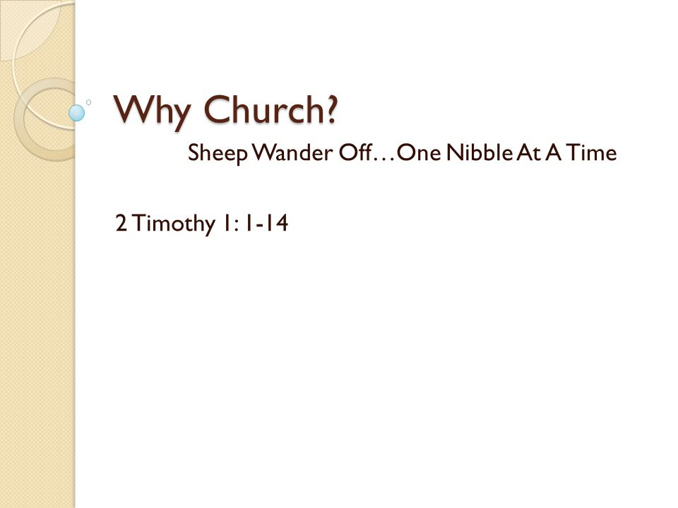 Why Church? Sheep Wander Off…One Nibble At A Time 2 Timothy 1: 1-14