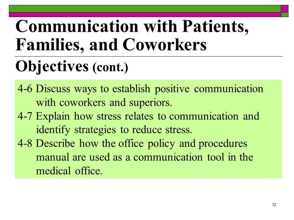 32 Objectives (cont.) 4-6 Discuss ways to establish positive communication with coworkers and superiors. 4-7 Explain how stress relates to communicati