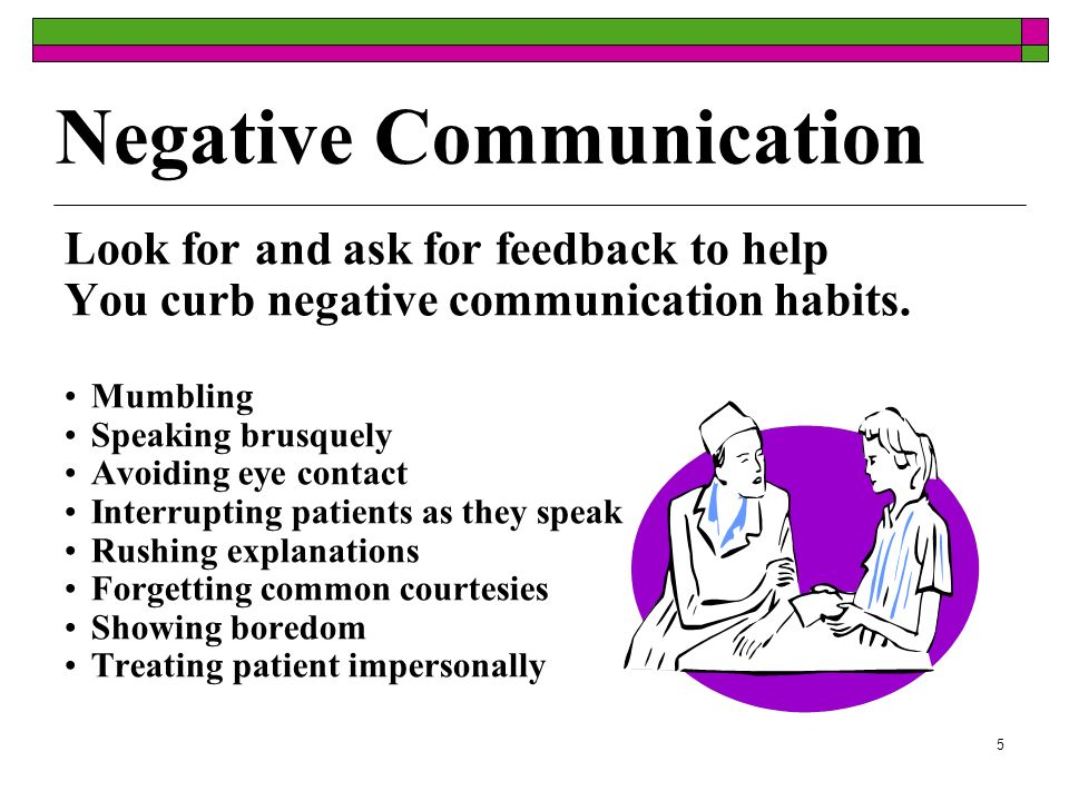 5 Negative Communication Look for and ask for feedback to help You curb negative communication habits.