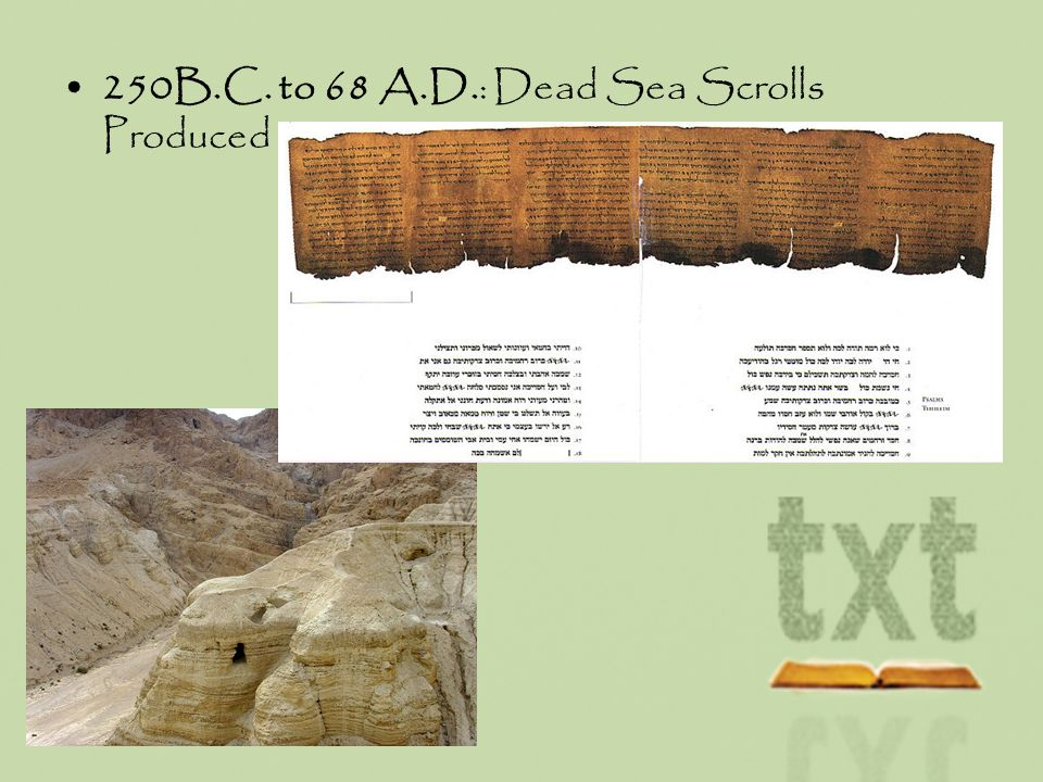 250B.C. to 68 A.D.: Dead Sea Scrolls Produced