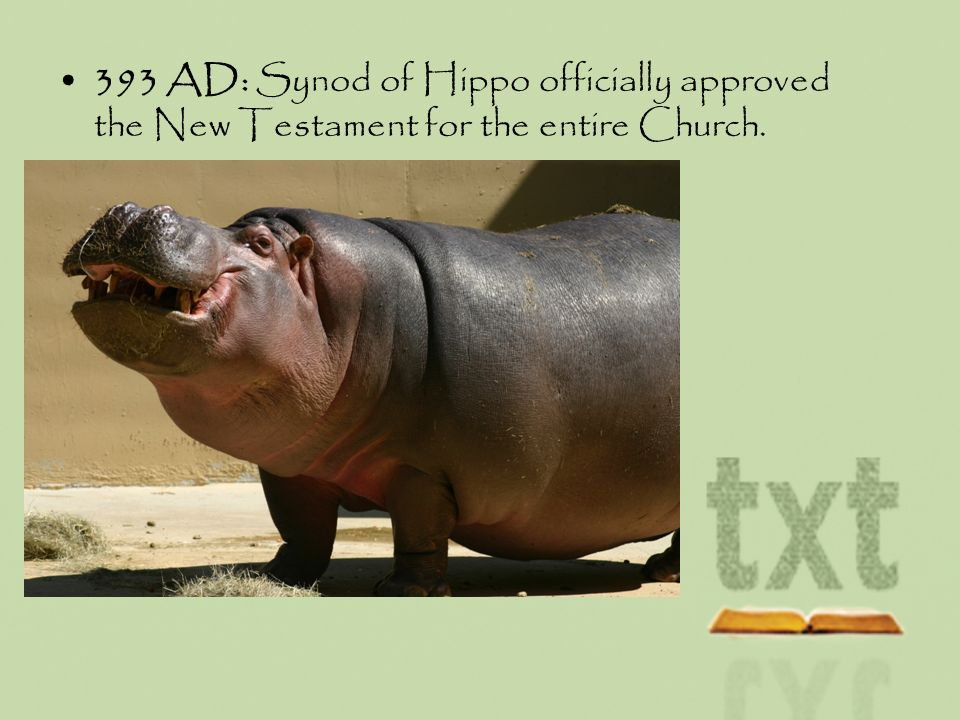 393 AD: Synod of Hippo officially approved the New Testament for the entire Church.