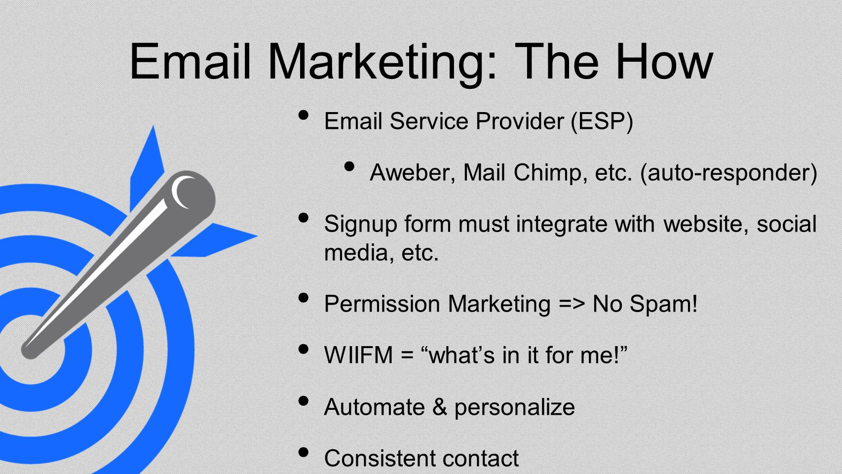 Email Marketing: The How Email Service Provider (ESP) Aweber, Mail Chimp, etc.