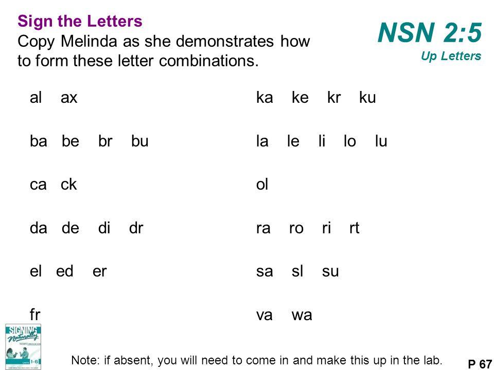 NSN 2:5 Up Letters al ax ba be br bu ca ck da de di dr el ed er fr ka ke kr ku la le li lo lu ol ra ro ri rt sa sl su va wa P 67 Note: if absent, you