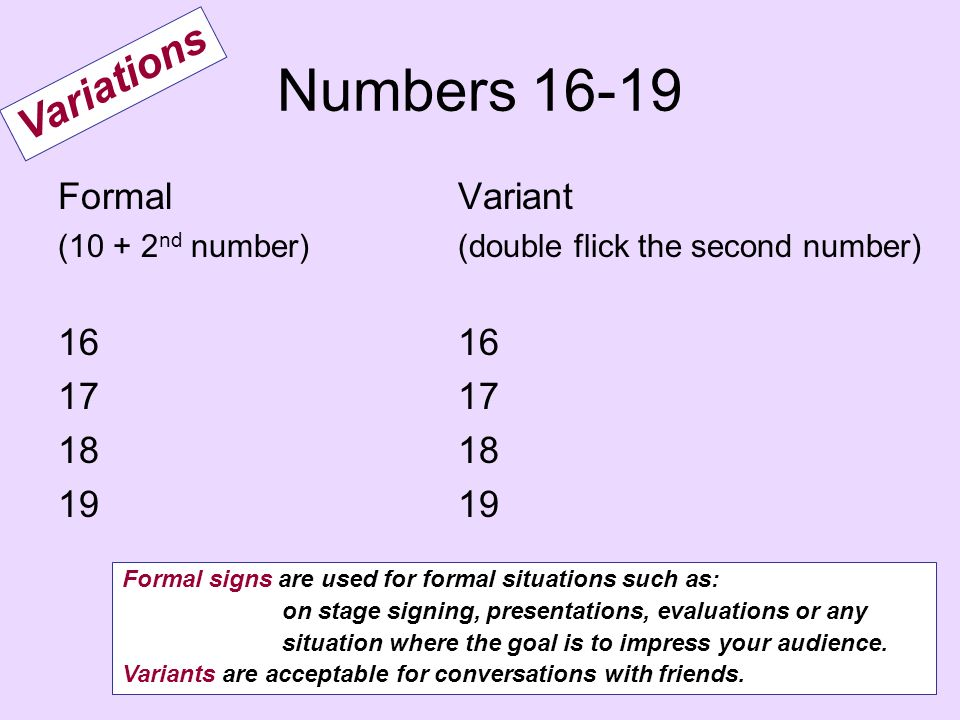 Numbers 16-19 Formal (10 + 2 nd number) 16 17 18 19 Variant (double flick the second number) 16 17 18 19 Variations Formal signs are used for formal s