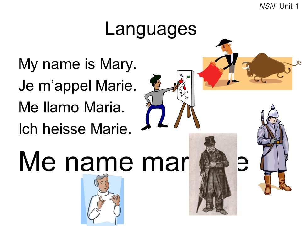 Languages My name is Mary. Je mappel Marie. Me llamo Maria. Ich heisse Marie. Me name mary me NSN Unit 1