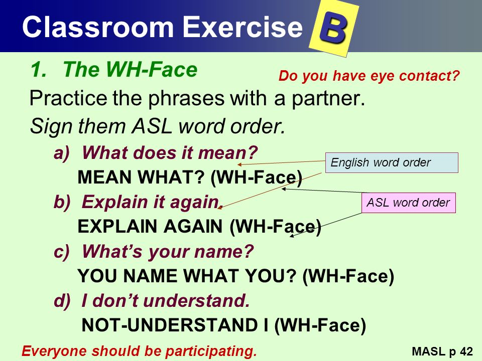 Classroom Exercise 1.The WH-Face Practice the phrases with a partner. Sign them ASL word order. a)What does it mean? MEAN WHAT? (WH-Face) b)Explain it