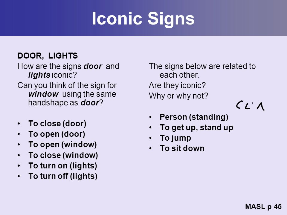 Iconic Signs DOOR, LIGHTS How are the signs door and lights iconic? Can you think of the sign for window using the same handshape as door? To close (d