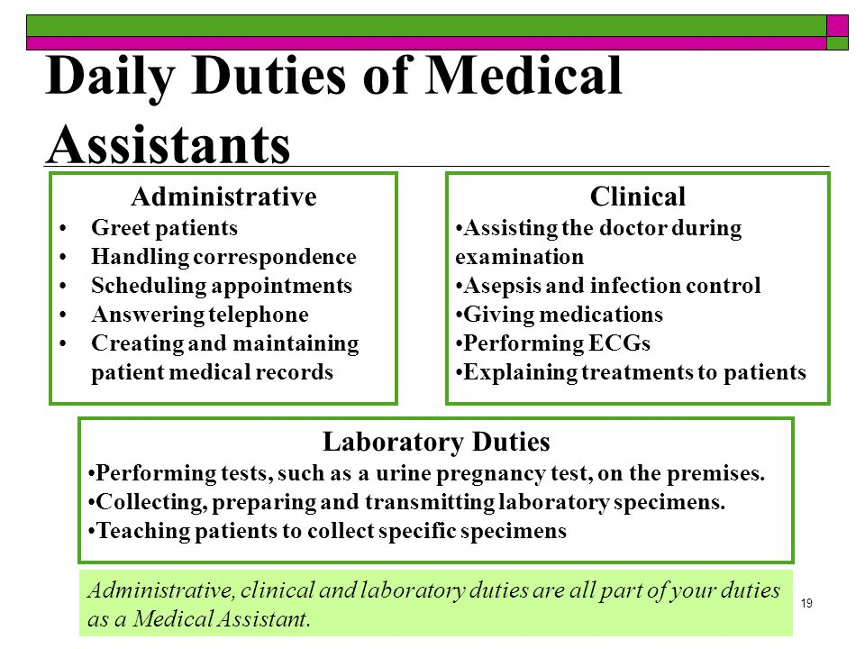 19 Daily Duties of Medical Assistants Administrative, clinical and laboratory duties are all part of your duties as a Medical Assistant. Administrativ