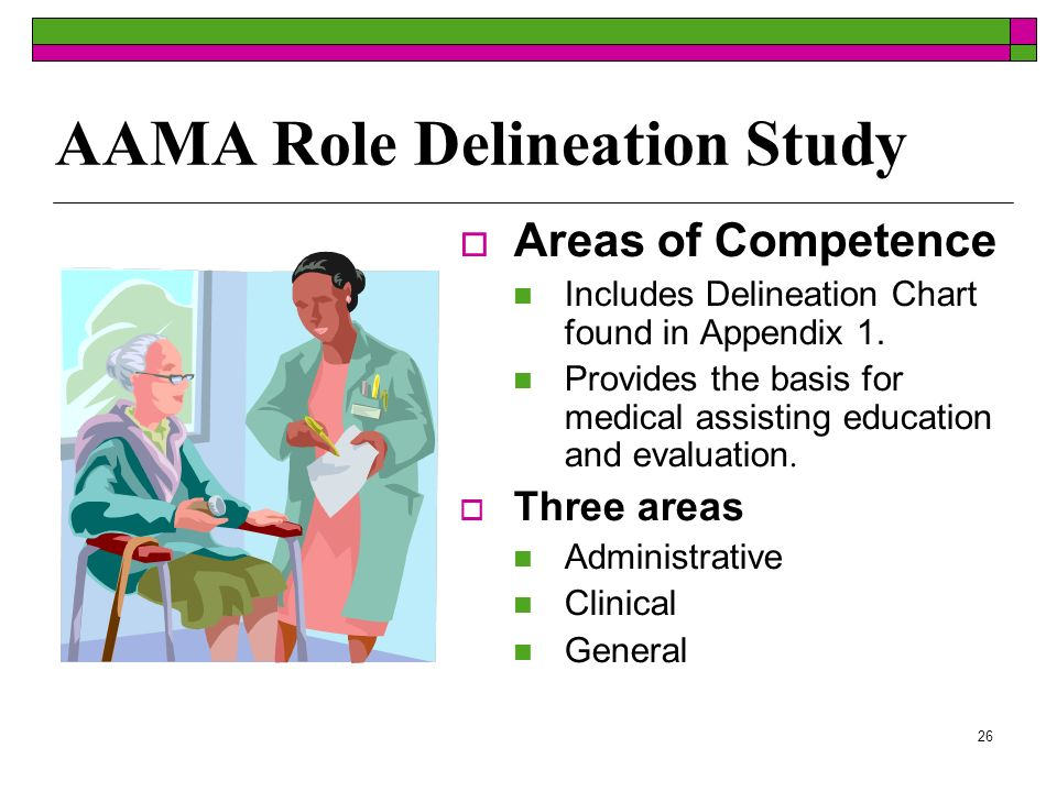 26 AAMA Role Delineation Study Areas of Competence Includes Delineation Chart found in Appendix 1. Provides the basis for medical assisting education