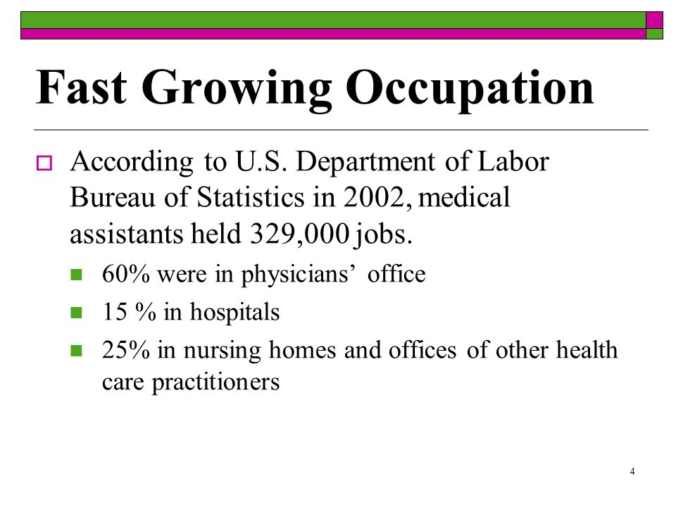 4 Fast Growing Occupation According to U.S. Department of Labor Bureau of Statistics in 2002, medical assistants held 329,000 jobs. 60% were in physic