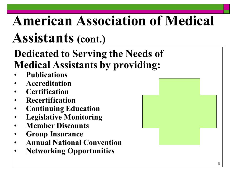 8 American Association of Medical Assistants (cont.) Dedicated to Serving the Needs of Medical Assistants by providing: Publications Accreditation Certification Recertification Continuing Education Legislative Monitoring Member Discounts Group Insurance Annual National Convention Networking Opportunities