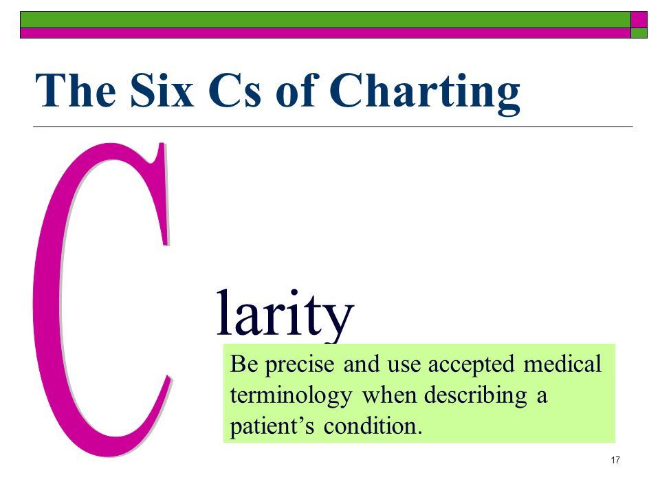 17 larity Be precise and use accepted medical terminology when describing a patients condition.
