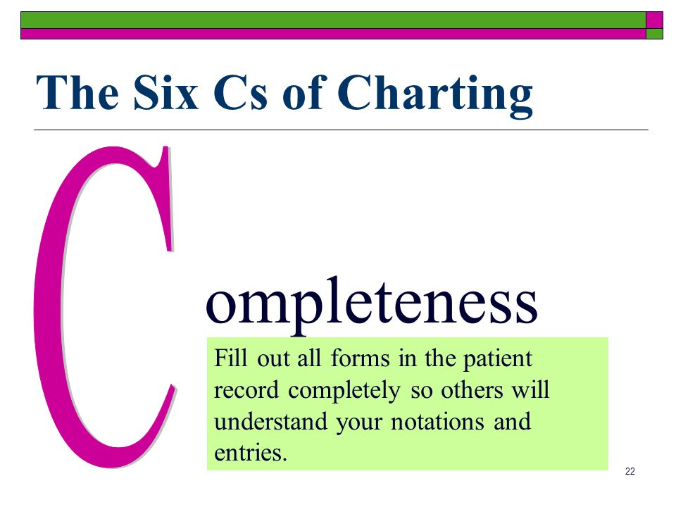 22 ompleteness Fill out all forms in the patient record completely so others will understand your notations and entries. The Six Cs of Charting