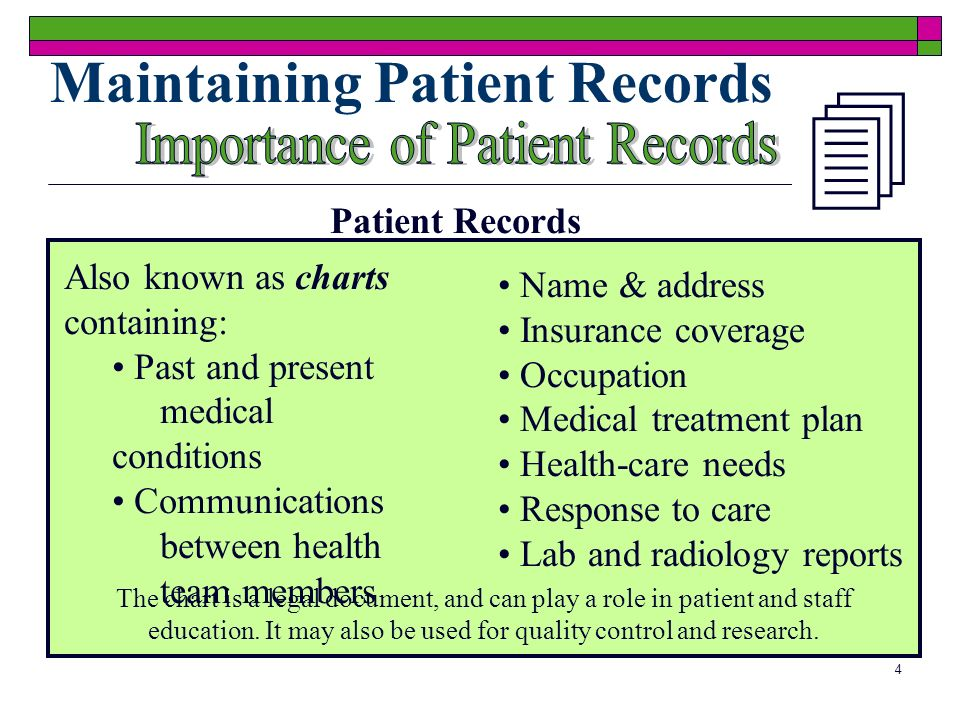 4 Maintaining Patient Records Patient Records Also known as charts containing: Past and present medical conditions Communications between health team