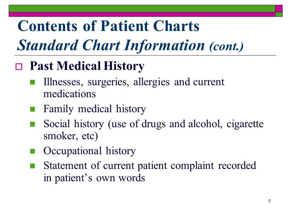 8 Past Medical History Illnesses, surgeries, allergies and current medications Family medical history Social history (use of drugs and alcohol, cigarette smoker, etc) Occupational history Statement of current patient complaint recorded in patients own words Contents of Patient Charts Standard Chart Information (cont.)