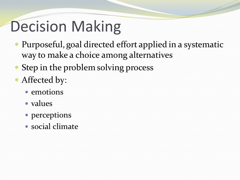 Effective Decision Maker Self confidence Assertive Proactive Flexibility Ability to focus