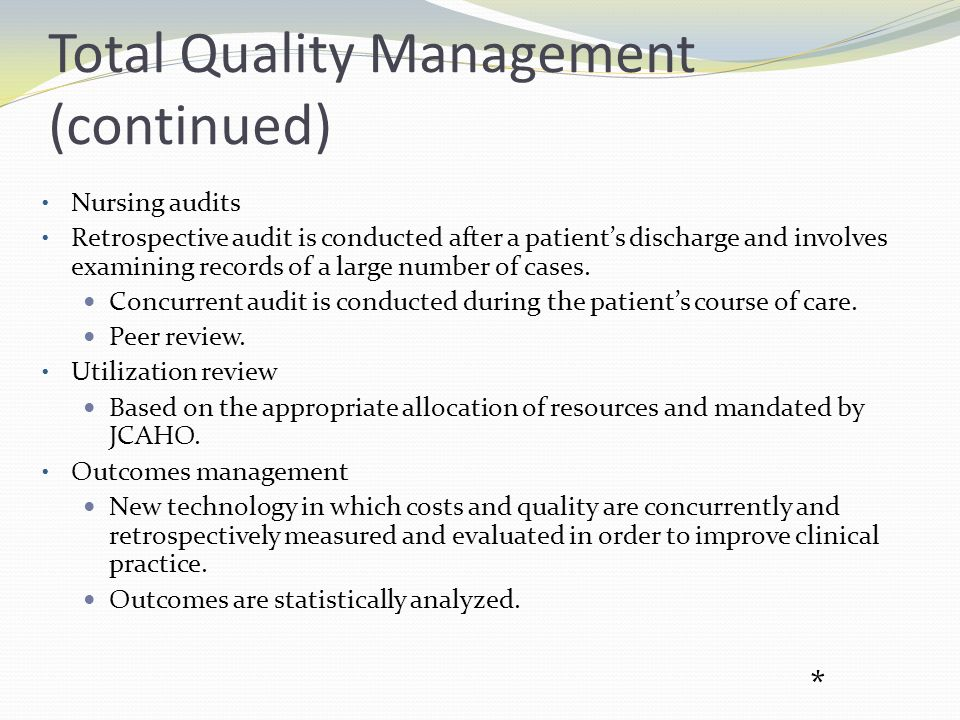 Continuous Quality Improvement Process to improve quality and performance.