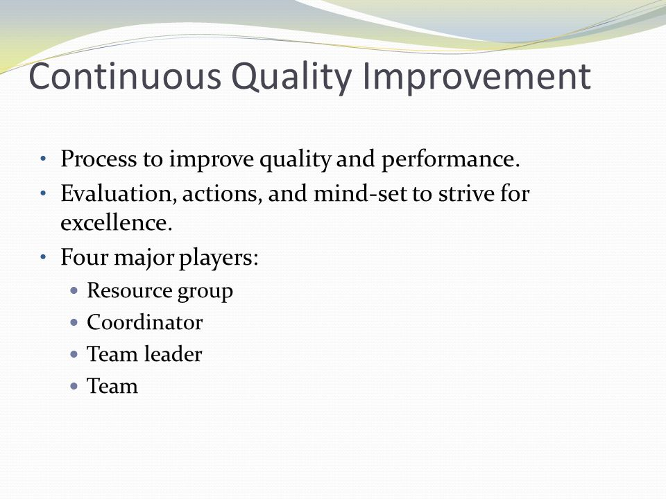 Components of Quality Management Comprehensive Quality Management Plan Standards Structure Process Outcome Nursing Audits Peer review Utilization Review Outcomes Management