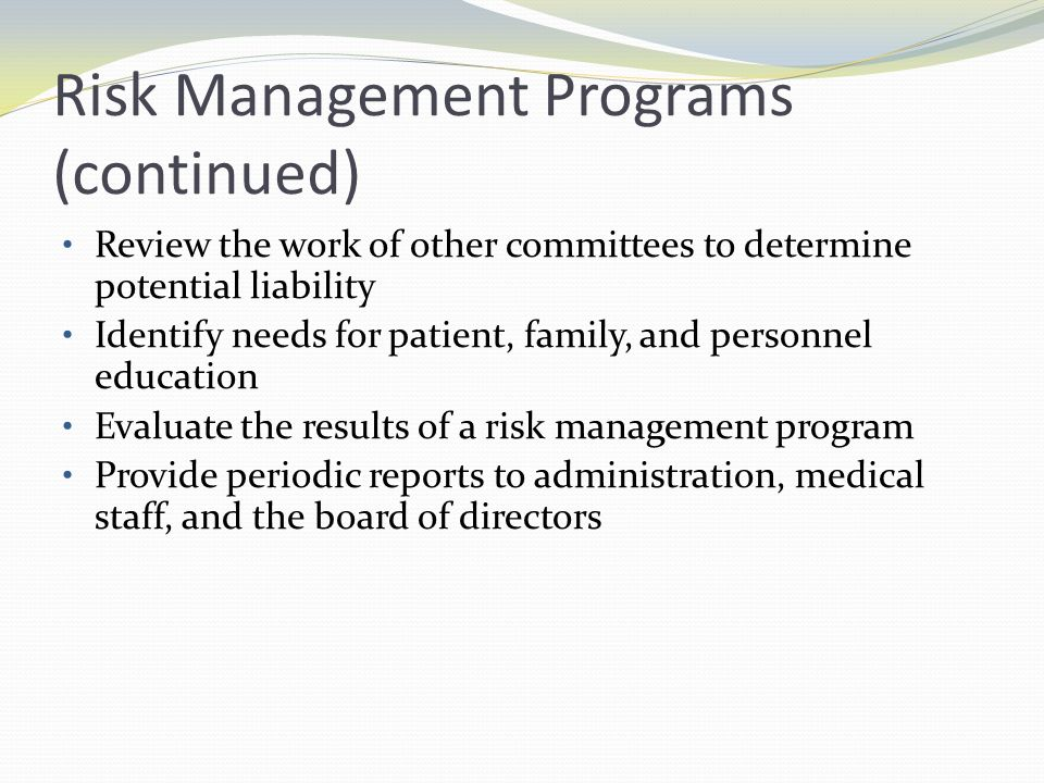 Nurses Role Implement risk management program Need clear understanding of the purposes of the incident reporting process Objective reporting necessary Never use report for disciplinary action
