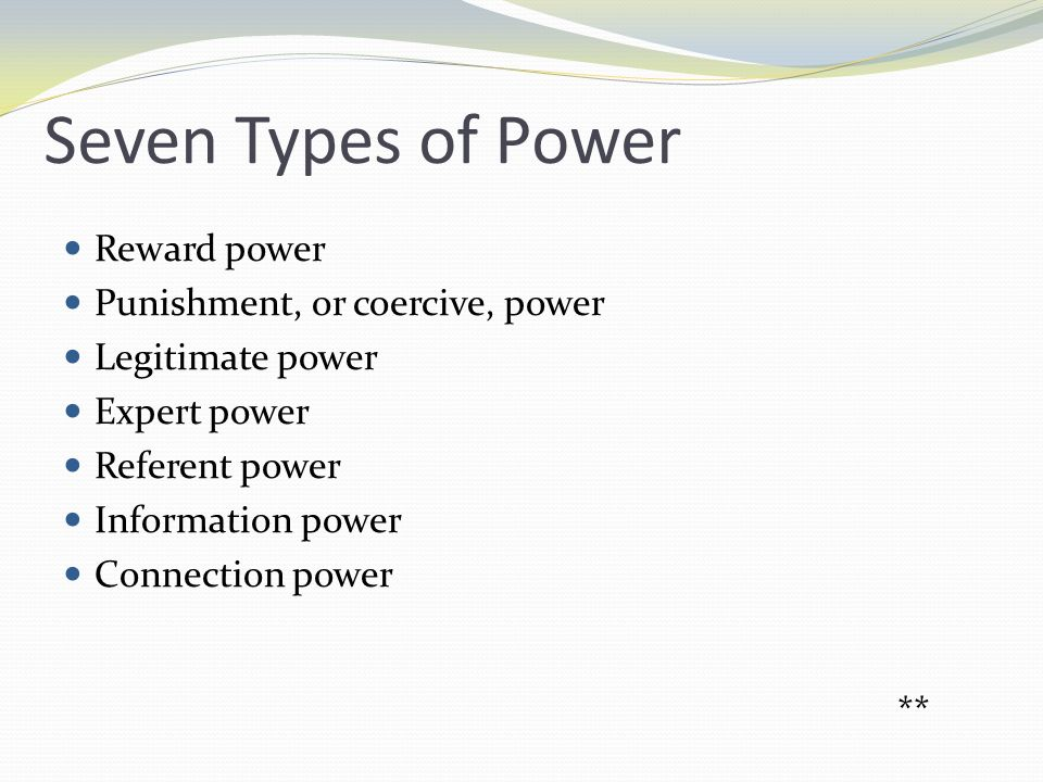 Types of Power Reward power Based on inducements the manager can offer in exchange for cooperation Used in relation to a managers formal job responsibilities Punishment power Based on the penalties a manager might impose on an individual or a group Motivation to comply is based on fear of punishment or withholding of rewards
