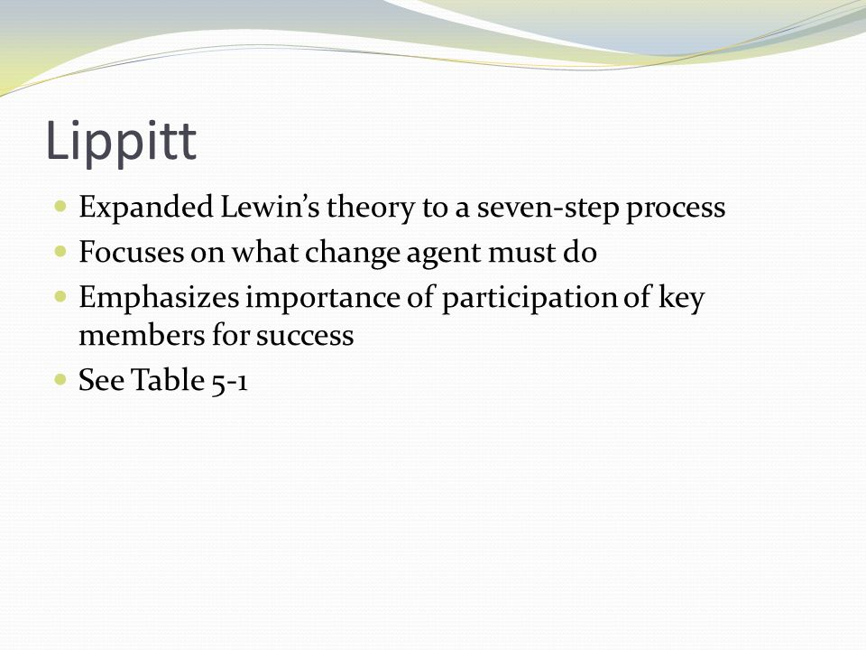 Havelock Modified Lewins theory to six-step process Describes active change agent Emphasizes participative approach See Table 5-1