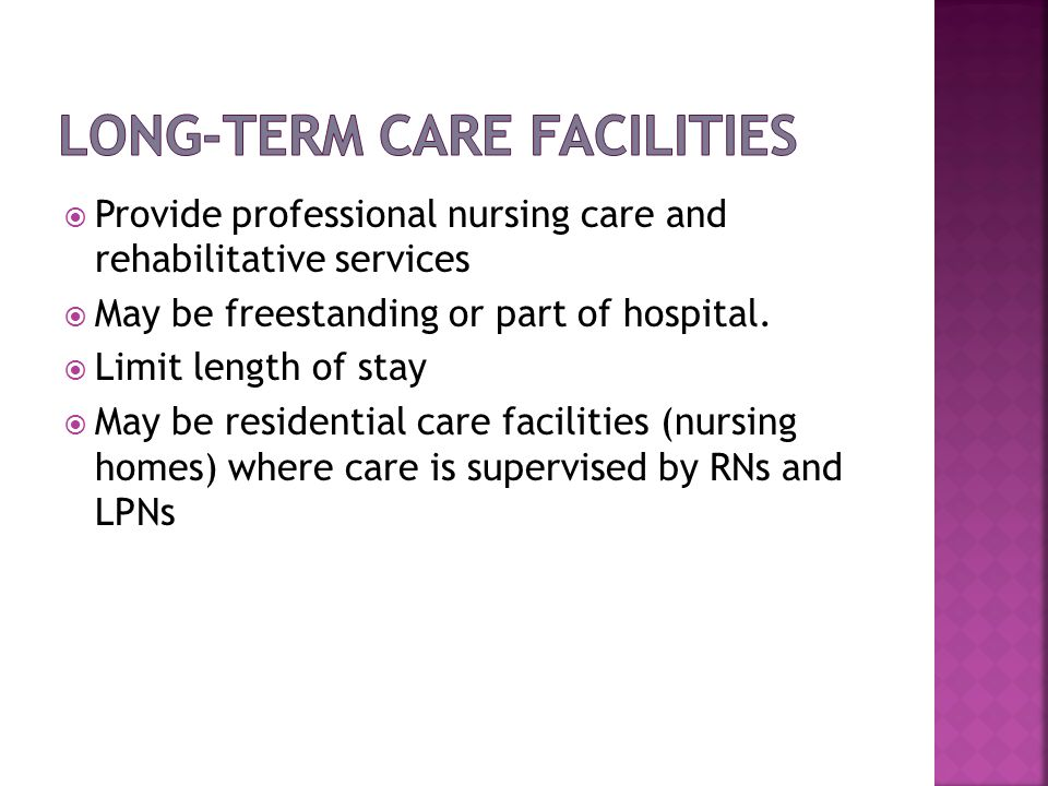 Provide professional nursing care and rehabilitative services May be freestanding or part of hospital. Limit length of stay May be residential care fa