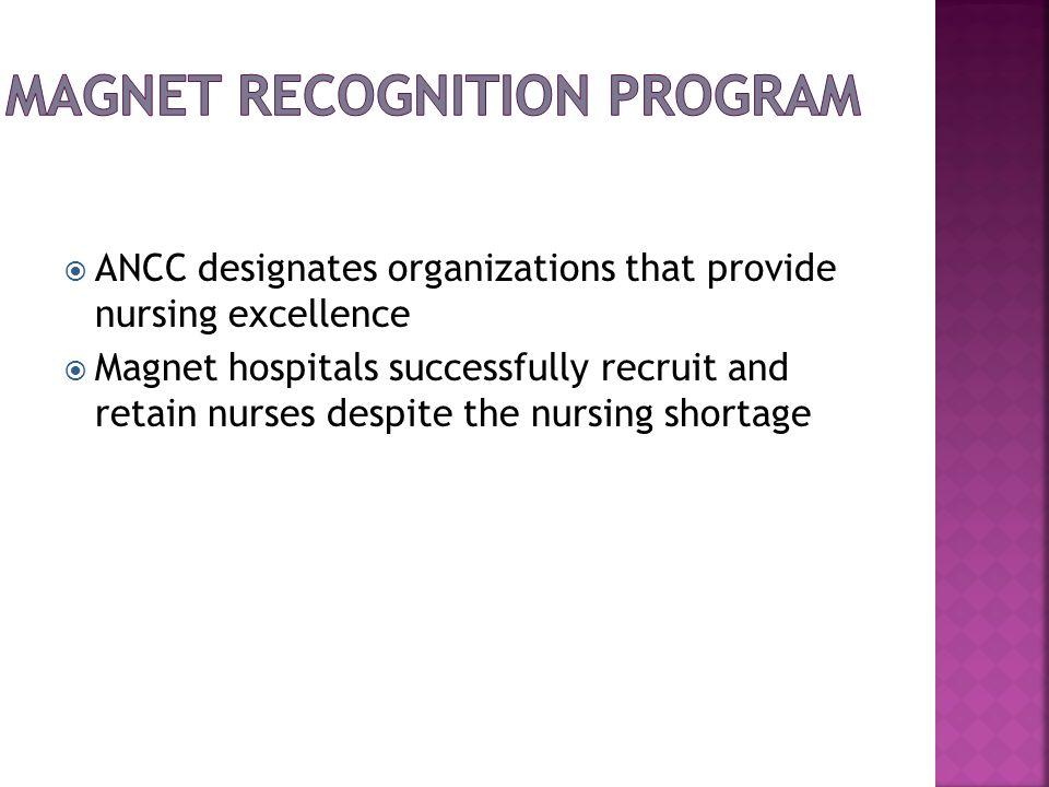 ANCC designates organizations that provide nursing excellence Magnet hospitals successfully recruit and retain nurses despite the nursing shortage