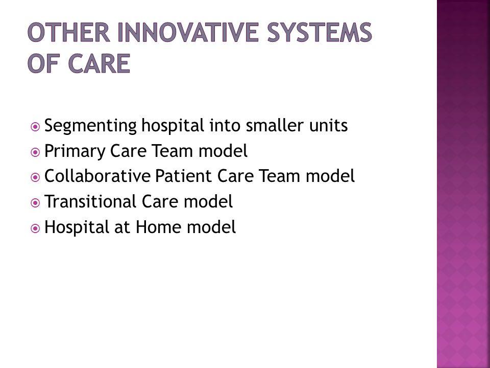 Segmenting hospital into smaller units Primary Care Team model Collaborative Patient Care Team model Transitional Care model Hospital at Home model